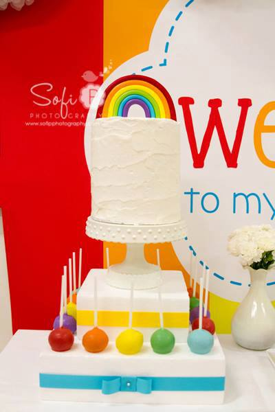 rainbow party tall cake