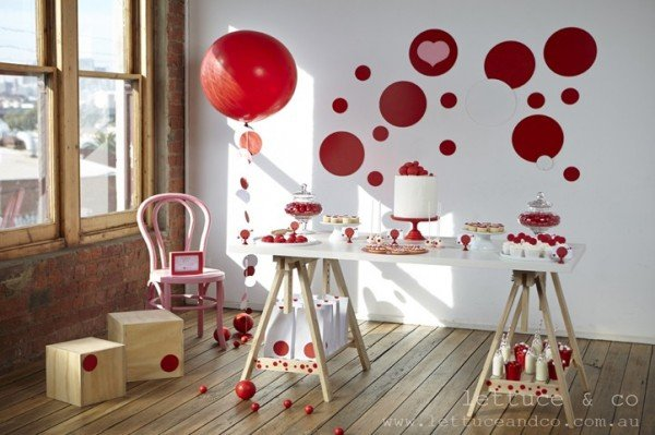 red dot party dessert table