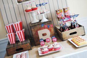 vintage baseball party sweets table