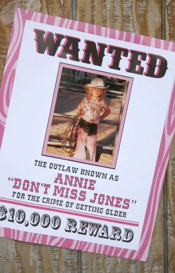 cowgirl theme birthday party wanted poster