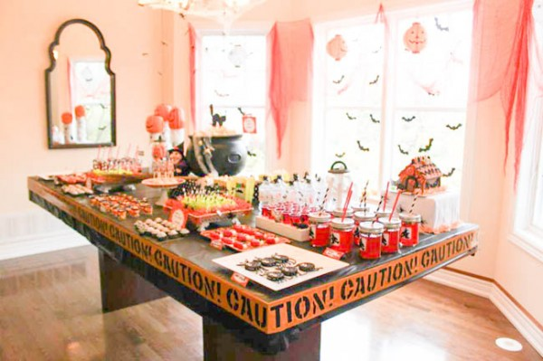 halloween birthday party dessert table
