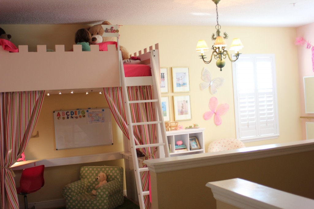 DIY: kids playroom makeover. Use an IKEA loft bed as the base to create a castle loft!