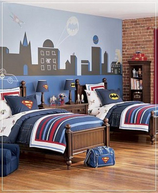 Superhero bedroom ideas design dazzle for Boys room mural