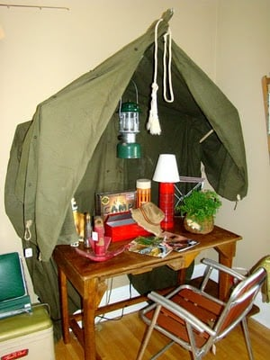 How about a tent desk in a camping themed kids room?