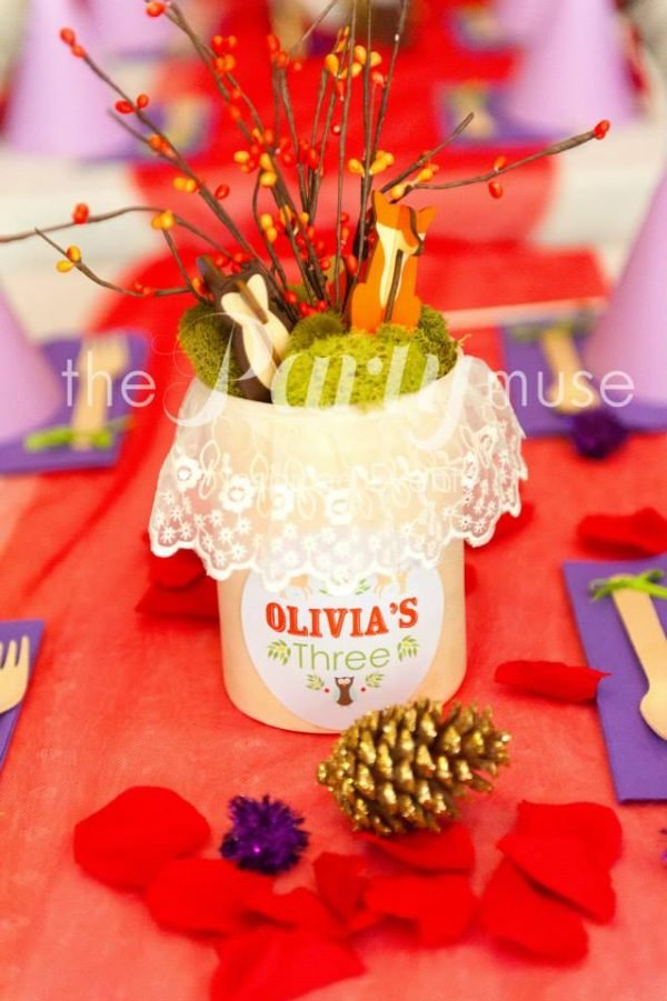 woodland party centerpieces