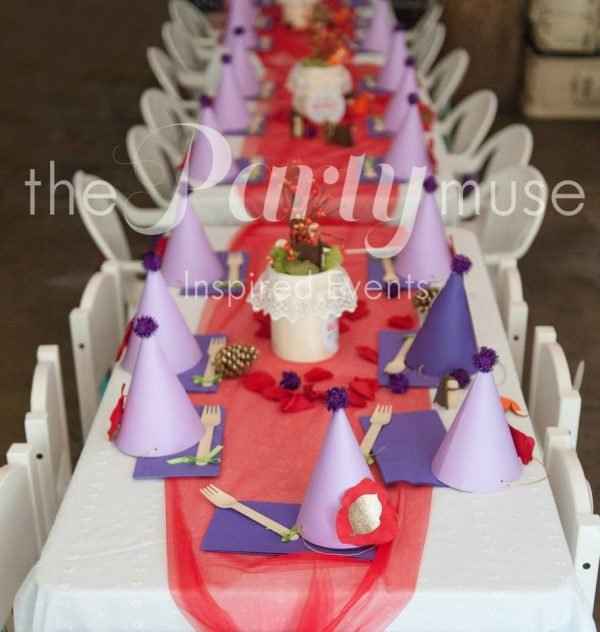 woodland wonderland birthday party seating area