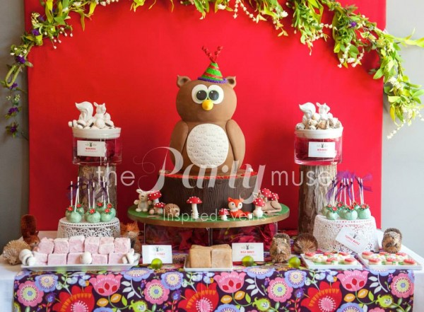 woodland wonderland birthday party dessert table
