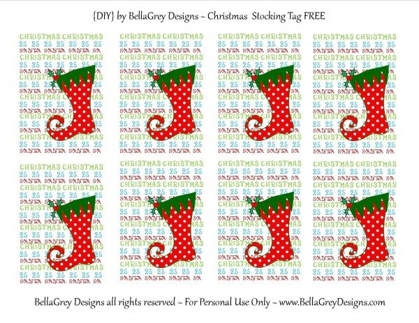 Christmas stocking tag to use with paper cutter