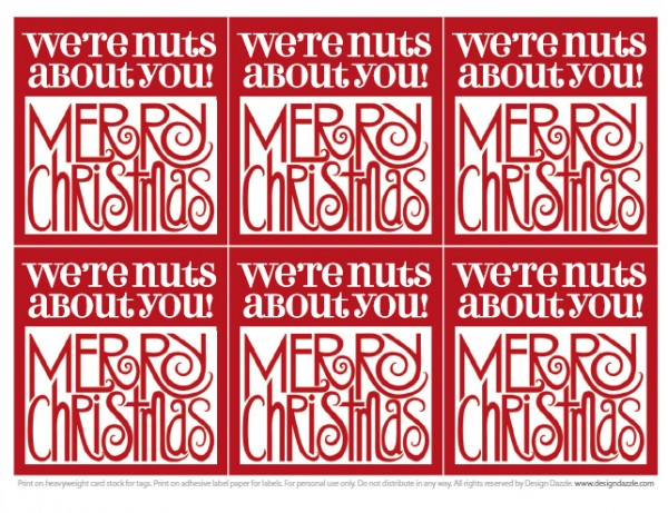 We're Nuts About You Merry Christmas tags - free!! Design Dazzle