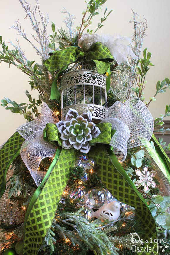 Jeweled Christmas Tree Bird Cage Topper - Design Dazzle