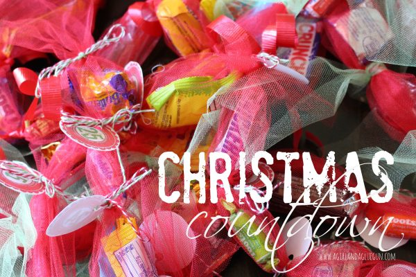 christmas countdown using candy and tulle