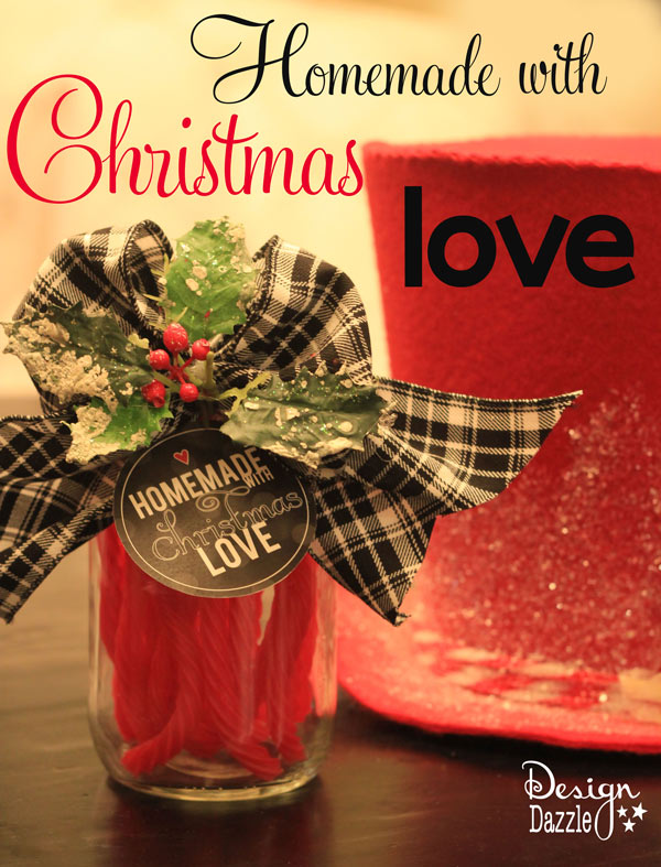 Homemade with Christmas Love free printables with four different designs, reds, pinks and black tags - Design Dazzle