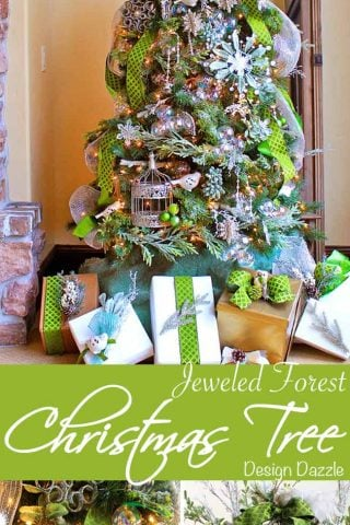 The Jeweled Forest Christmas tree by Toni of Design Dazzle. Beautiful jewels, baubles, greenery, succulents, moss, birds and more!