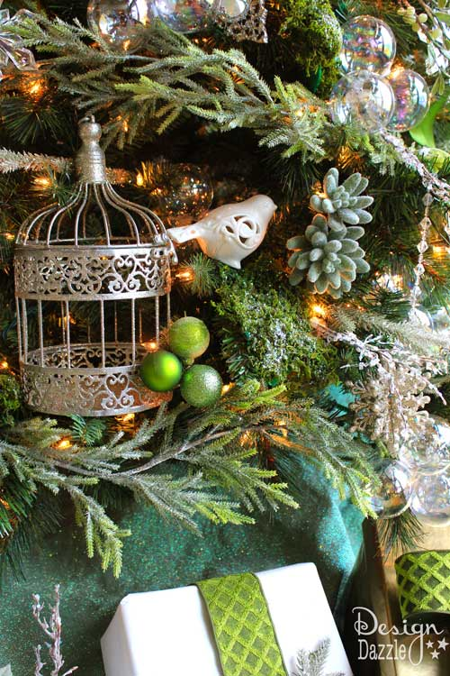 glittered moss design dazzle - Bird Christmas Tree Decorations
