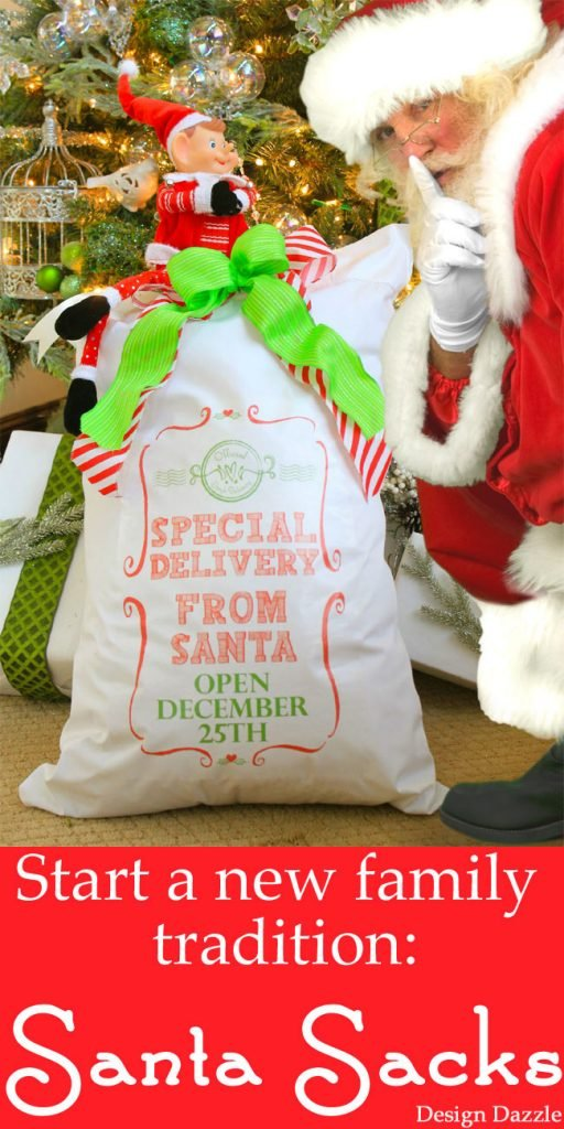Start a new family tradition: Santa Sacks! Use our printable to iron on a pillowcase. Kids leave these empty on Christmas Eve and wake up to find Santa has filled the sacks with toys! Design Dazzle
