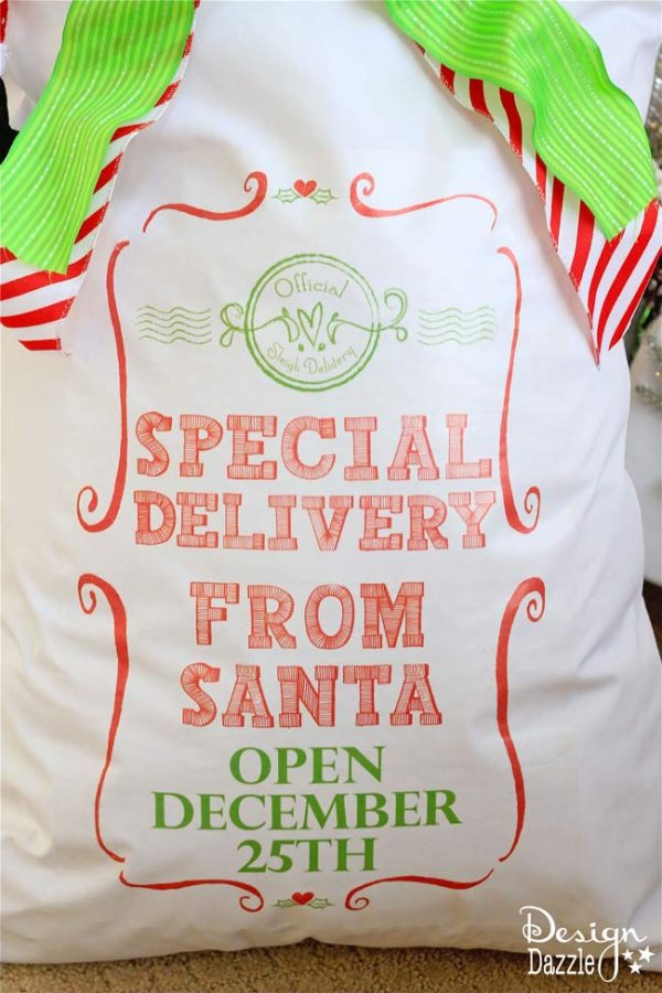 Printable to make your own Santa Sack! Special Delivery From Santa Open December 25th! Design Dazzle