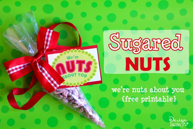 Family Christmas Traditions: Make sugared nuts for Christmas gifts. Recipe and free printable included - Design Dazzle