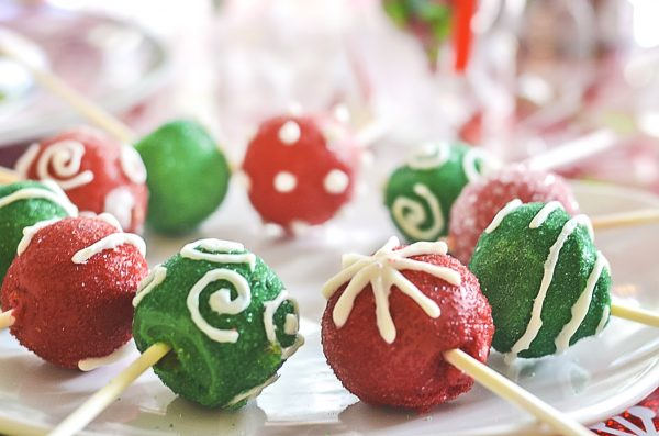 Santa's Workshop ornament cake pops
