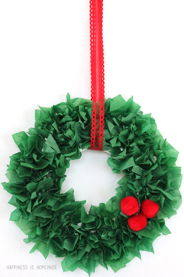 Kids Christmas Craft   Tissue Paper Wreath