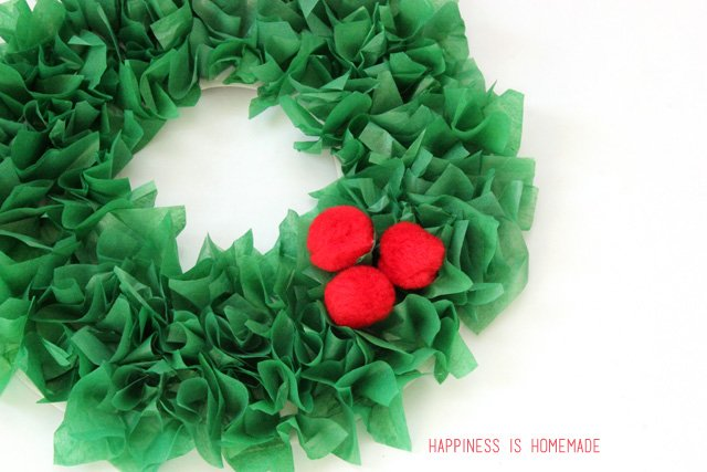 Kids Christmas Tissue Paper Wreath with Pom Pom Embellishments