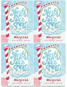 North Pole Snow - Magical No-Melt Snow Did you know that snow from the North Pole smells like peppermint and dazzles with glitter? Yep!! North Pole No-melt Snowball. Recipe and printable for North Pole Snow by Design Dazzle #christmaskids #northpoleideas #northpolesnow