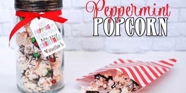 peppermint popcorn in a mason jar