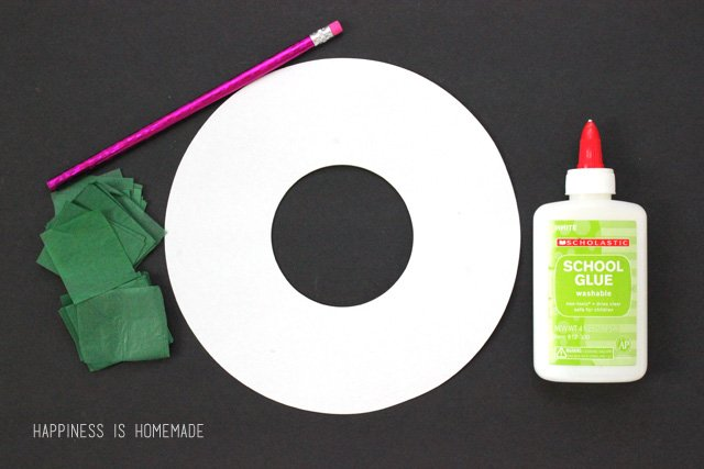 Supplies Needed to Make a Tissue Paper Wreath