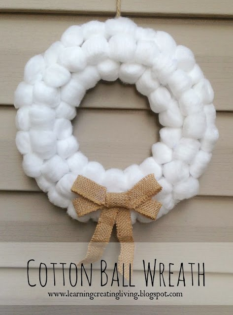 cotton ball wreath