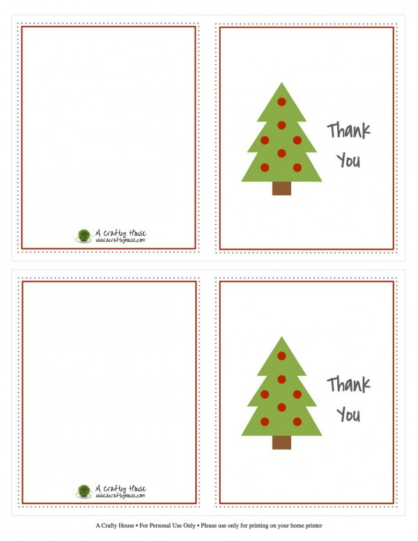 Printable Holiday Thank You Cards  Printable Cards