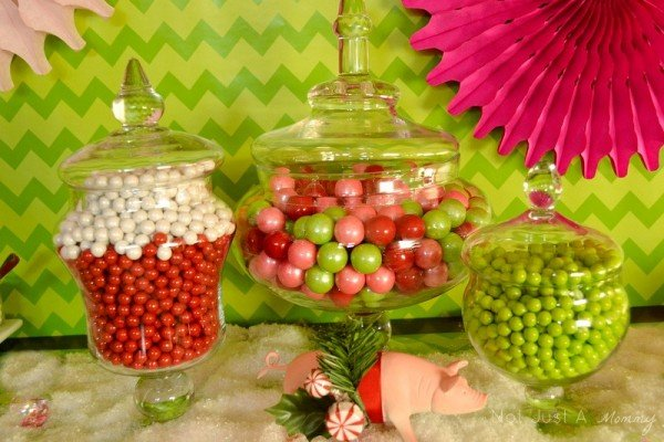 Hoggy Holidays Christmas Party Table candy centerpiece