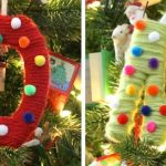 Yarn and Pom Pom Monogrammed Ornament