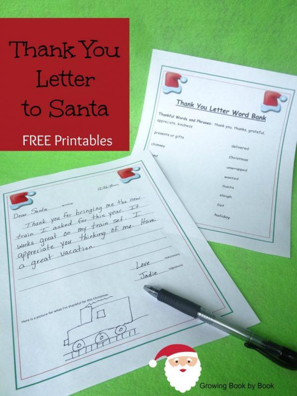 Thank you letter to Santa - free printable