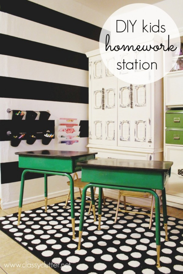DIY Homework Station for Kids! Such a way to get kids motivated for school work!