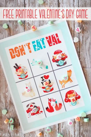 Valentine Party Game Free Printable: Don't Eat Pete