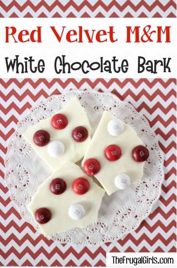 Red Velvet M&M White Chocolate bark