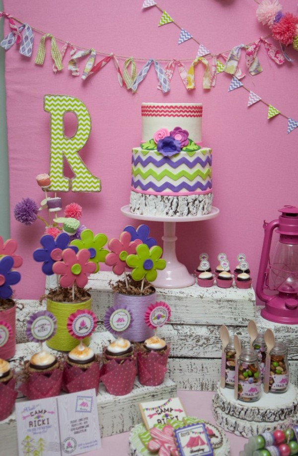 glam camping dessert table