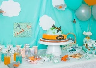Orange & Aqua Airplane Birthday
