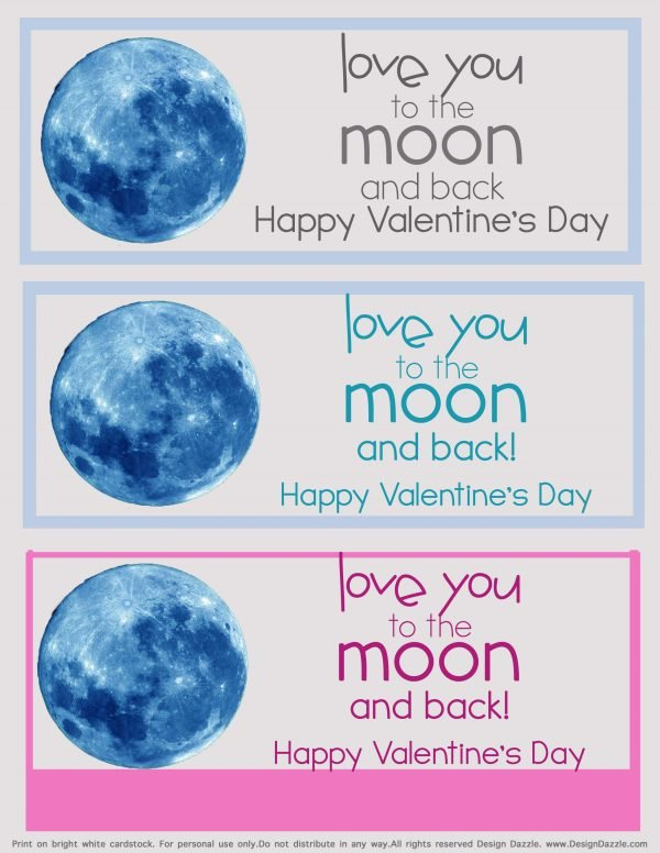 Valentine love you to moon and back free printable - Design Dazzle