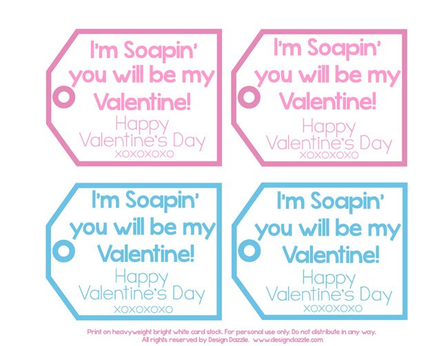 Free printable Valentine's Day soap tags