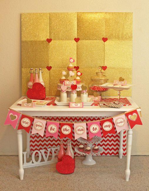 valentine kids party dessert table