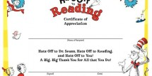 Dr Seuss Reading Certificate