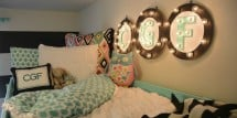 Illuminated letters in girls room