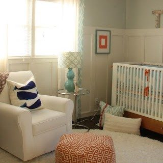 Orange and Aqua Baby Room