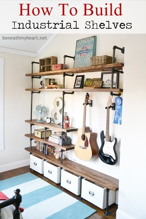 Amazing Industrial Shelves for a boys room! Fabulous DIY Project!