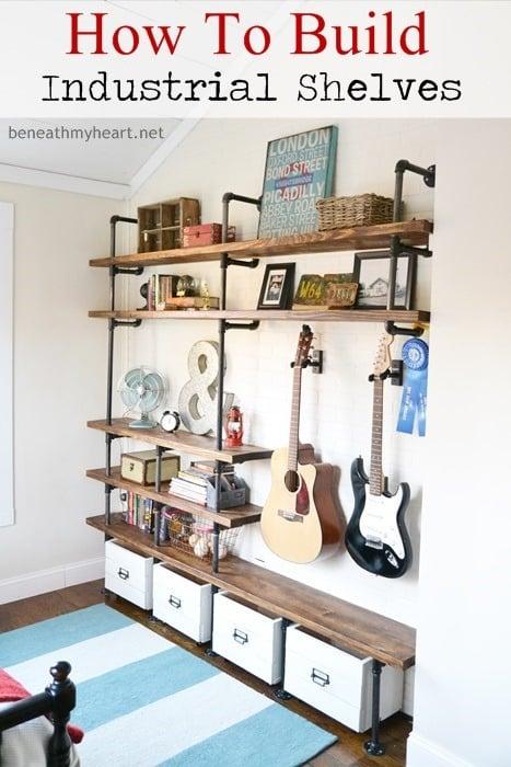 Industrial Shelves In Boys Room Design Dazzle