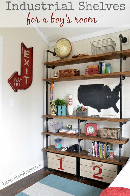 Industrial Shelves Boys Room