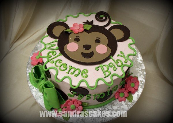 Monkey theme cakes for baby showers design dazzle - Baby shower monkey decorations for a girl ...