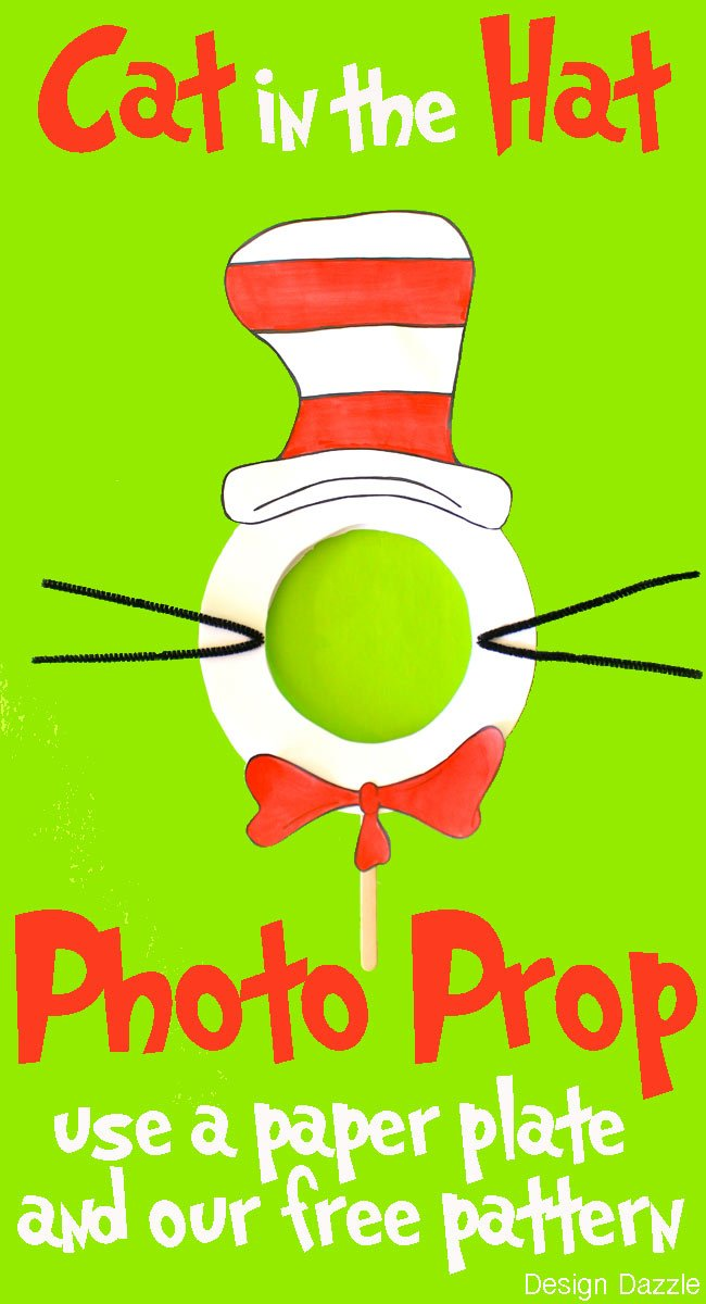 Cat in the Hat Photo Prop! Dr. Suess craft that is perfect for any party! #drsuess || Design Dazzle