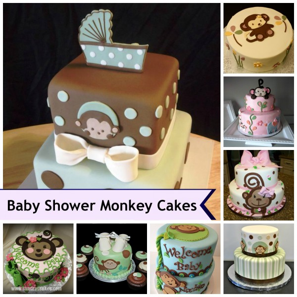 Monkey theme cakes for baby showers