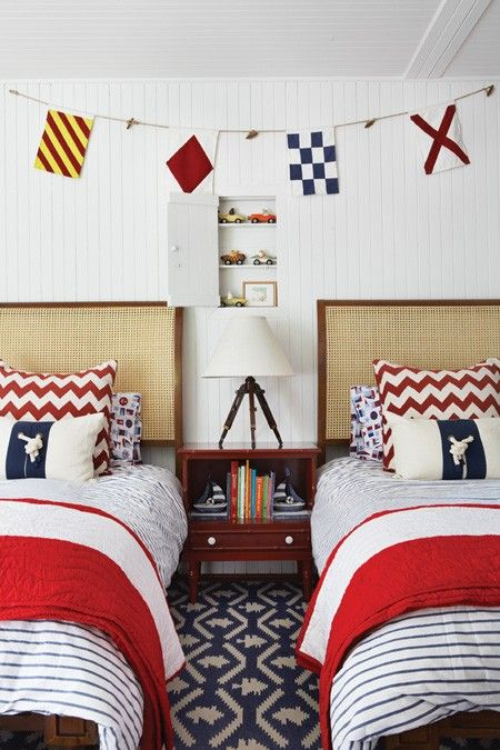 The flag banner and the bedding really pull this nautical room ...